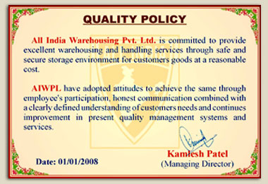 All India Warehousing Pvt  Ltd  - Quality Policy